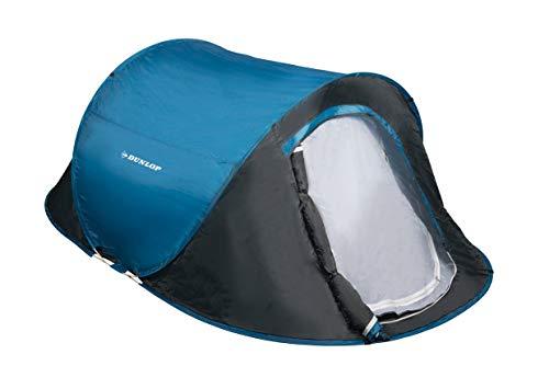 dunlop tienda de campaña 2 personas-resistente para senderismo, camping,viaje playa, deporte-impermeable, azul/gris-255 x 155 x 95 cm, unisex-adult
