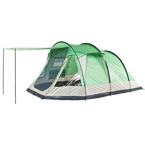 skandika lyon - tienda de campaña tipo túnel, color verde, capacidad 5 personas, 490 x 300 cm