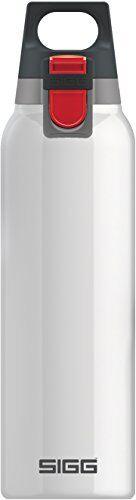 sigg hot & cold one white botella térmica (0.5 l), cantimplora térmica aislante sin sustancias nocivas, botella de acero inoxidable para usar con una mano