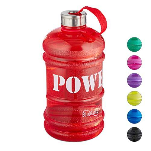 bluefinity botella de agua power para deporte, cantimplora xxl para gimnasio, libre de bpa y dehp, 2 litros, rojo, adultos unisex, 27 x 12,5 x 12,5 cm