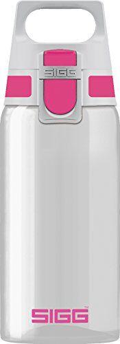 sigg total clear one berry botella cantimplora (0.5 l), botella hermética sin sustancias nocivas, botella transparente y ligera de plástico tritán