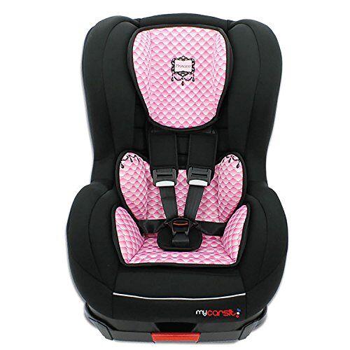 mycarsit silla de coche isofix, grupo 1(918kg), diseño de rosa, princesa