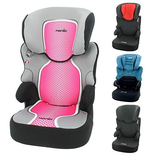 mycarsit silla de coche grupo 2/3 (15-36kg) - fabricación 100% francesa - 3 estrellas test adac/tcs - 4 coloridos - reposa cabeza y asiento tapizado, acolchado y ajustable.