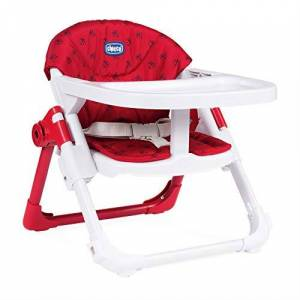Chicco Chairy - Elevador asiento de silla regulable 4 posiciones, ligero y transportable, 6-36 meses, color rojo estampado mariquitas (Ladybug)