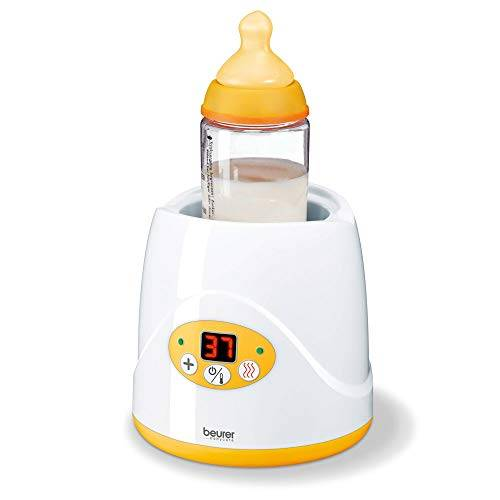 beurer by52 - calienta biberones y calienta potitos digital, color blanco y amarillo