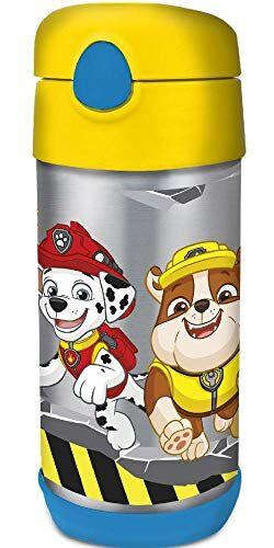 paw patrol 18960 - botella cantimplora térmica de acero inoxidable con pajita, 360 ml