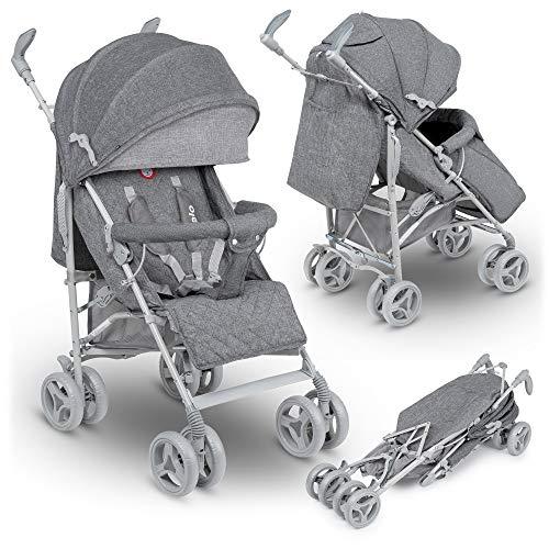 lionelo lo-irma grey/dark grey irma buggy - carrito de viaje plegable con posición tumbada, 7 kg, color gris