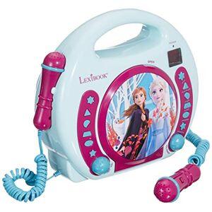 LEXIBOOK RCDK100FZ Disney Frozen-Lector CD Portátil con 2 Micros, Altavoz Karaoke a Partir de 3 años, Color Azul