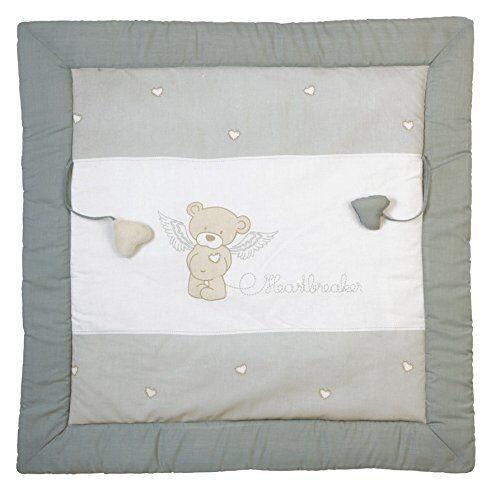 roba manta de juegos roba, diseño 'heartbreaker', alfombra de juego acolchada para bebé / apropiada para parques de 100x100cm, 100% algodón, incluye elementos de juegos para bebés
