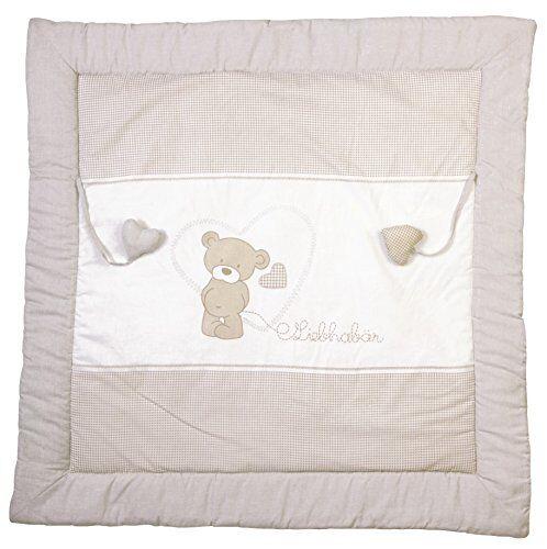 roba manta de juegos roba, diseño 'lovely bear', alfombra de juego acolchada para bebé / apropiada para parques de 100x100cm, 100% algodón, incluye elementos de juegos para bebés