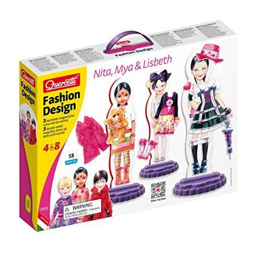 quercetti 2933 fashion design - recortables magnéticos para muñecas lisbeth, mya y nita