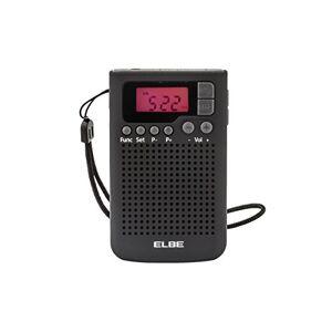 Elbe RF-93 Radio de bolsillo digital, radio am/fm, memoria 20 emisoras, despertador alarma, altavoz incorporado, función sleep / snooze, pantalla lcd, clip para sujeción, color negro