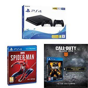 Sony Playstation 4 (PS4) - Consola 500 Gb + 2 Mandos Dual Shock 4 (Edición Exclusiva Amazon)  - nuevo chasis F + Marvels Spiderman + Call of Duty: Black Ops IIII + Tarjeta de visita exclusiva (Exclusiva Amazon)