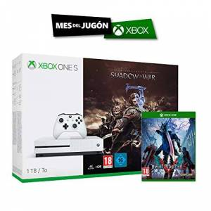 Microsoft Xbox One S - Consola 1 TB + Sombras De Guerra + Game Pass (1M) + Devil May Cry 5