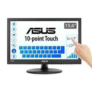 Asus VT168H - Monitor tactil de 15.6'' (1366x768, 200 cd/m, 50000000:1, capacitiva, 76 Hz, 0,252 x 0,252 mm, filtro de luz azul, Flicker free) Negro