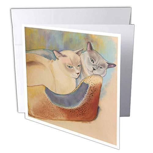 3drose gc_23299_2 - tarjeta de felicitación de 6 x 6 pulgadas con diseño de gatos de dos gatos y gatos tonkineses, para pintar pasteles, retratos, gatos, gatos y camas (paquete de 12)