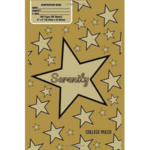 Noggin Box Books Serenity Monogram Composition Book, Gold Stars Pattern Matte Cover, College Ruled Pages: 6x9 Inches, 100 Pages, Personalized and Perfect for Class, Work, Journaling, Recipes, Notes