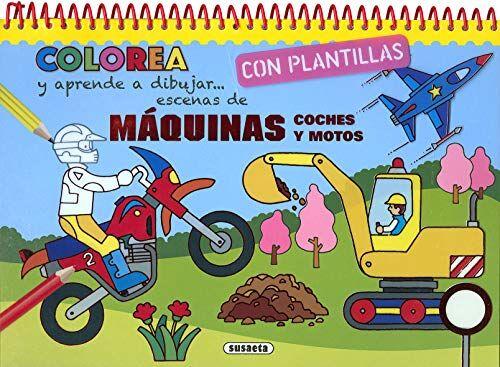 Susaeta, Equipo Máquinas, coches y motos (Colorea y aprende a dibujar con plantillas)