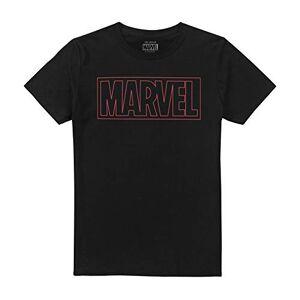 Marvel Outline Logo Camiseta, Negro (Black Blk), S para Hombre