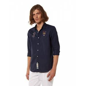 La Martina Pmc307 Camisa Casual, Azul (Navy 07017), Medium para Hombre