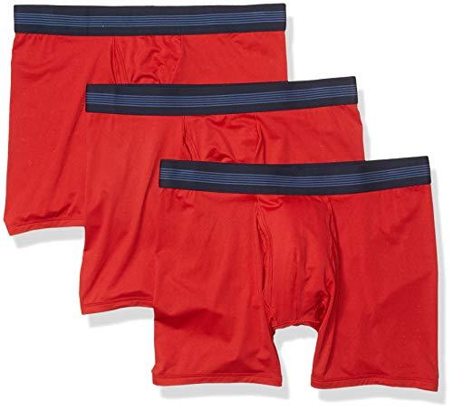 Goodthreads 3-Pack Lightweight Performance Knit Boxer Brief Briefs, Rojo, L