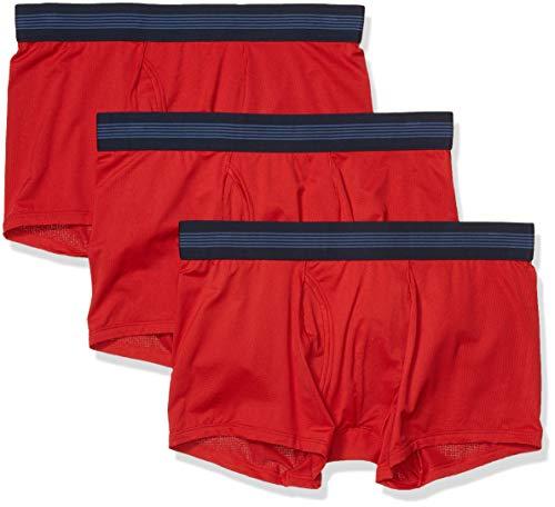 Goodthreads Paquete de 3 Troncos Ligeros de Punto. Trunks-Underwear, Rojo, L
