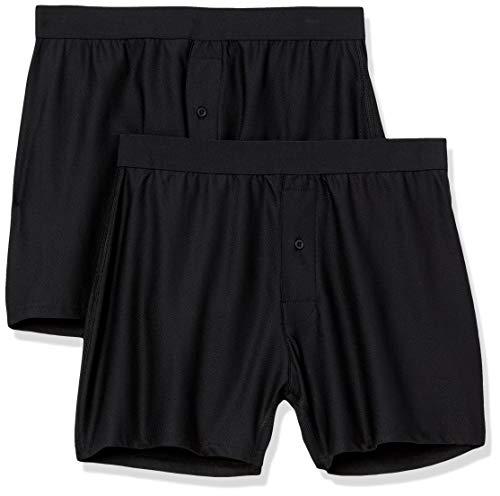 Amazon Essentials Pack de 2 bóxers Transpirables de Secado rápido. Boxer-Shorts, Negro, US M (EU M)
