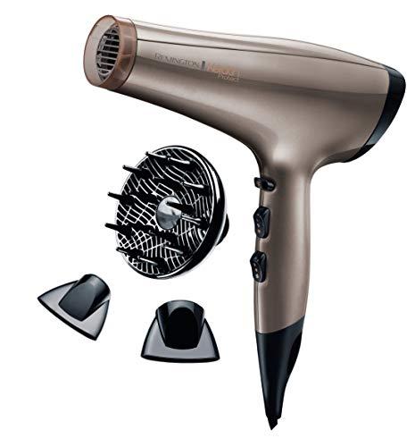 remington keratin protect ac8002 secador de pelo profesional, secador iónico, difusor y concentradores, 2200w, bronce, keratina y aceite de almendras