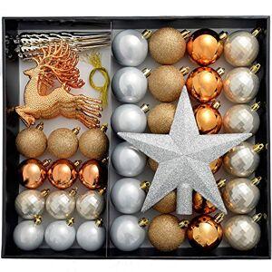 WeRChristmas Paquete Bolas de Navidad irrompibles, Color, Plateado y Dorado, Bronce/Plata/Oro, 50 Piece