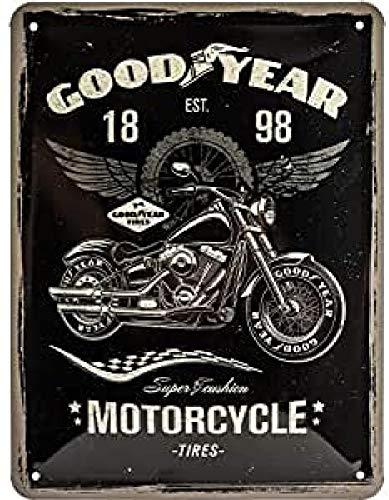 ART Nostalgic-Art 26224 Goodyear - Motocicleta - Idea de Regalo para Fans de Coches y Motos Retro Cartel de Chapa de Metal, decoración Vintage, 15 x 20 cm