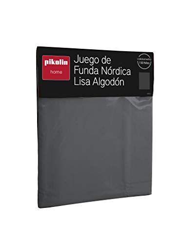 pikolin home - juego de funda nórdica con bajera y funda de almohada color gris 100% algodón 150 hilos calidad extra. cama 135-135x190/200 cm (todas las medidas)