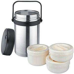 liteXpress Fiambrera con Forma de Botella al vacío para Isosteel 1,5 L, Apto para lavavajillas, 18/8 Acero Inoxidable, Plus 3 recipientes de plástico - Apto para Micro con Onda en Forma de, VA-9683