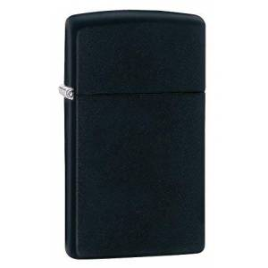 Zippo Slim Black Matte Mechero, Metal, 3.5x1x5.5 cm