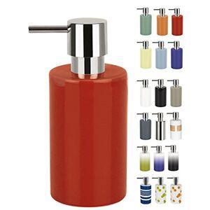 Spirella 7 x 7 x 16 cm, Rojo colección Tube, Dispensador de jabón líquido, Gres