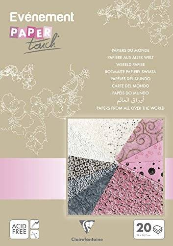 clairefontaine papel touch niña diverse documentos de todo el mundo, multicolor, a4, hojas de 20