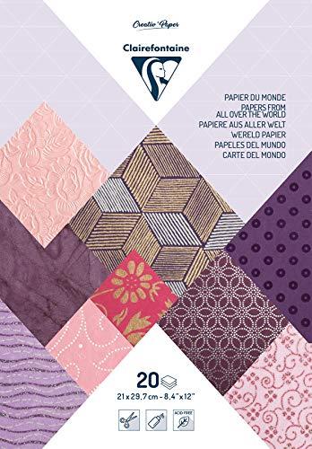 clairefontaine papel touch diverse documentos de todo el mundo, rosa/morado, a4, hojas de 20