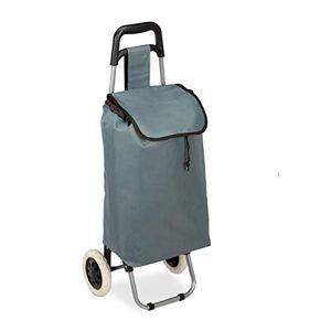 Relaxdays Carro Compra Plegable, Bolsillo Interior, 25 l, Soporta hasta 10 kg, Tela-Acero, 1 Ud, 91 x 40 x 30 cm, Gris