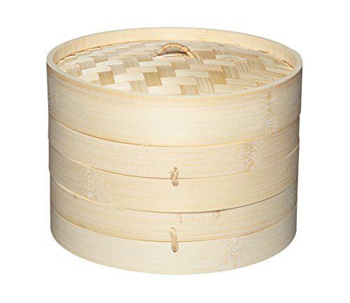 kitchen craft kitchencraft oriental vaporera con pisos, bambú, beige, 20x18x18 cm