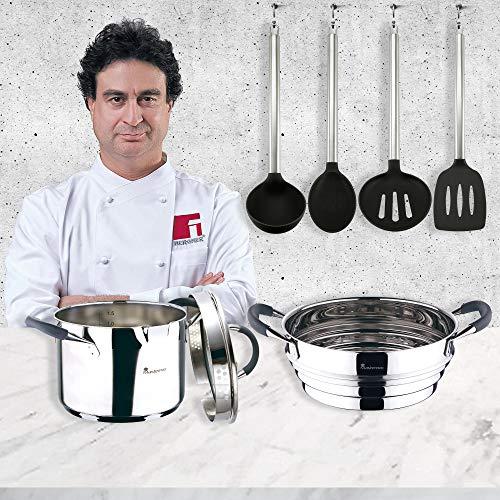 san ignacio masterpro set coccin-olla 16 cm y vaporera 24 cm, inducción, cromado, acero inoxidable