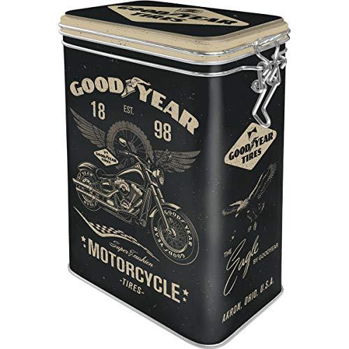 ART Nostalgic-Art Retro Kaffeedose Goodyear Motorcycle  Idea de Regalo para los Amantes de los Coches y Las Motos, Metal, Diseño Vintage, 1,3 L