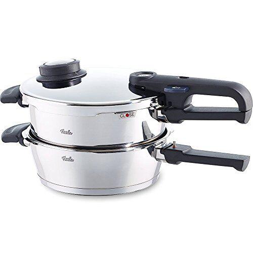 fissler juego de ollas a presión apta para cocinas de inducción, gas, vitrocerámica y eléctricas, acero inoxidable, plateado, 4.5litros