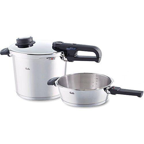 fissler vitavit premium / juego de ollas a presión (6 + 2,5 litros, 22 cm) de acero inoxidable, 2 niveles de cocción, apta para cocinas de inducción, gas, vitrocerámica y eléctricas