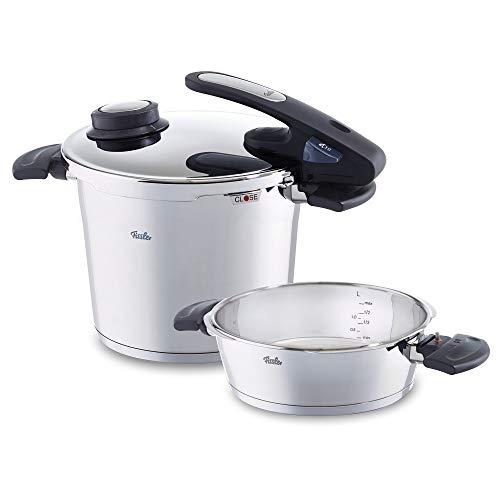 fissler vitavit edition design / juego de ollas a presión (6 + 2,5 litros,  22 cm) de acero inoxidable, 2 niveles de cocción, apta para cocinas de inducción, gas, vitrocerámica y eléctricas