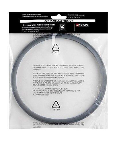 bra a990988 a990988-junta ollas a presión monix 4 litros, 6 litros y 7 litros, silicona, gris, 22 cm