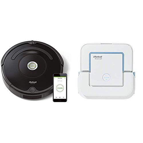 irobot - set con roomba 671 robot aspirador para suelos duros y alfombra, dirt detect, wifi + braava jet 240 robot fregasuelos, 3 modos de limpieza, Óptimo cocinas y baños, paños desechables incluidos