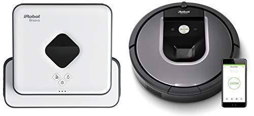 irobot roomba 960 - robot aspirador Óptimo mascotas con wifi y programable por app + irobot braava 390t - robot fregasuelos, con 2 modos de limpieza y 4 paños lavables incluidos, color blanco