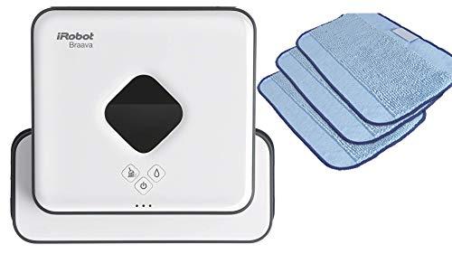 irobot braava 390t - robot fregasuelos y mopa, para múltiples habitaciones y casas grandes, silencioso, con 4 paños microfibra incluidos + 3 extra gratis