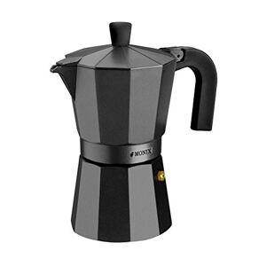 Monix Vitro Noir  Cafetera Italiana de Aluminio, Capacidad 12 Tazas, Apta para Todo Tipo de cocinas Salvo inducción