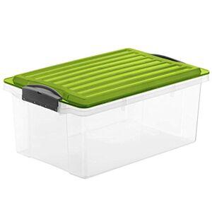 Rotho Compact, Caja de almacenamiento 13l con tapa, Plástico PP sin BPA, verde, transparente, A4, 13l 39.5 x 27.5 x 18.0 cm