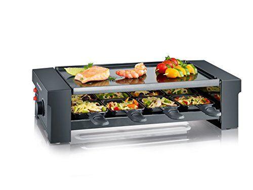 severin pizza-raclette grill con plancha reversible, 1.150 w aprox., incl. 8 mini-sartenes, cortador de masa para pizza y 8 espátulas de madera, rg 2687